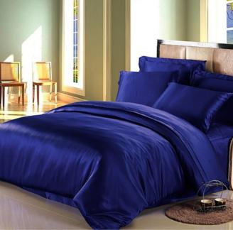 ネイビー 青色のシルク掛け布団カバー