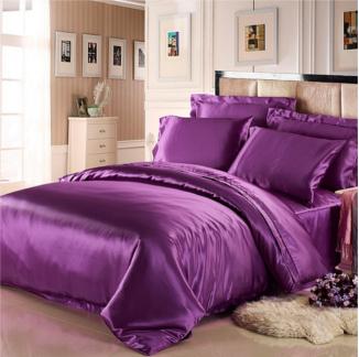 パープル 紫色のシルク掛け布団カバー