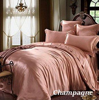 シャンパン サーモンピンク色のシルクシーツ
