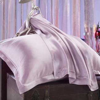ライトパープル 薄紫色のシルク枕カバー ピローケース