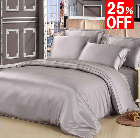 シルバーグレイ 灰色のシルク掛け布団カバー セール商品