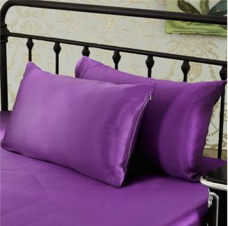 パープル 紫色のシルク枕カバー ピローケース