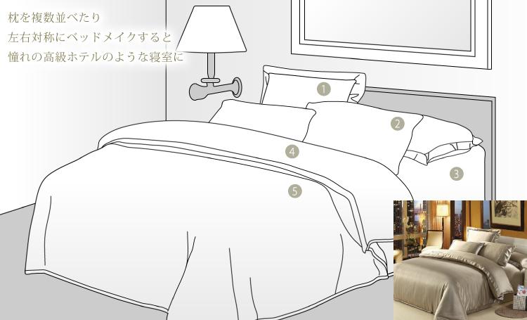 枕を複数並べたり左右対称にベッドメイクすると憧れの高級ホテルのような寝室に