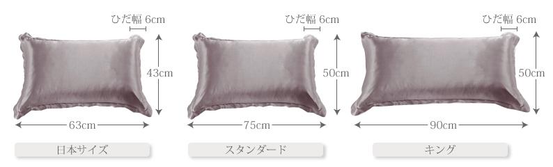 シルク枕カバーフリル付サイズ一覧